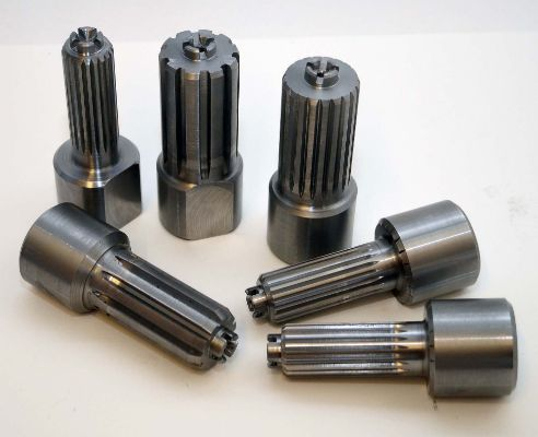 Steel torsion-test splines, profile turned and timing slots milled (various)